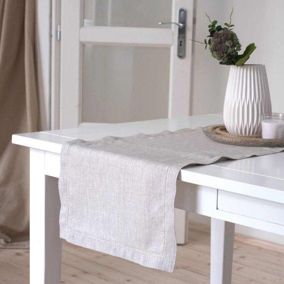 Linen Table Runner Hemstitch Elbla Light Natural