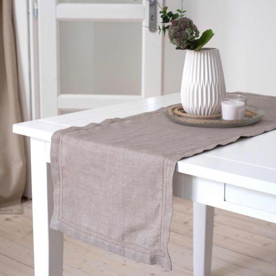 Leinen Tischläufer mit Hohlsaum Elbla Natural