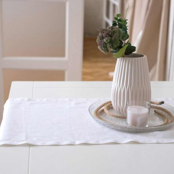 Linen Table Runner Hemstitch Elbla White