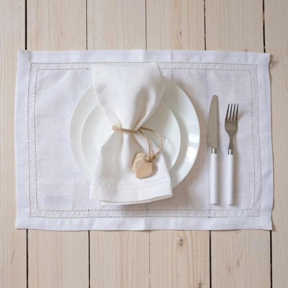 Set of 2 linen placemats hemstitch Elbla White