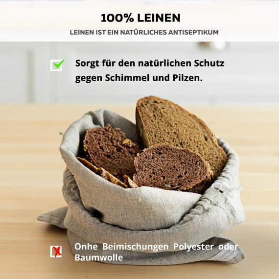 Bread bag from bio-linen Lesna Light Natural