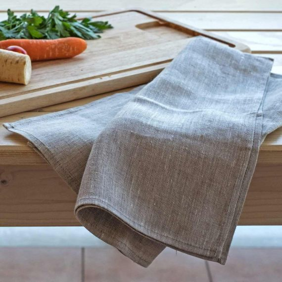 Set of 2 linen tea towels Lesna Light Natural