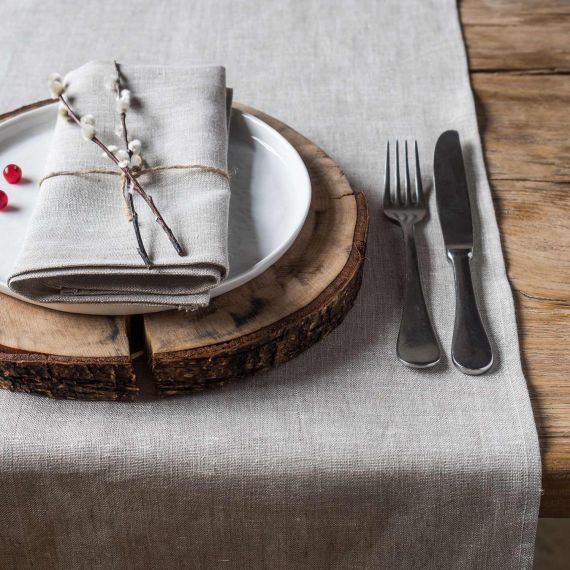 Linen Table Runner Lesna Light Natural