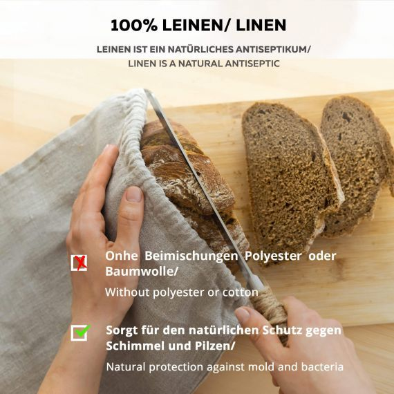 Bread bag from bio-linen Lesna Natural