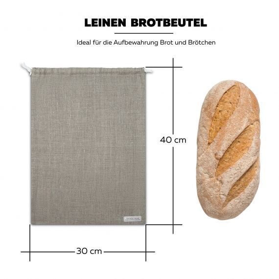 3-er Pack Brotbeutel & Brotsacks Leinen