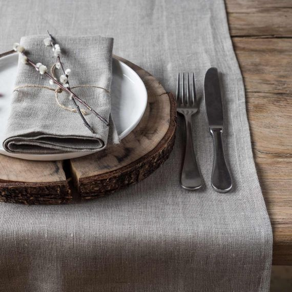 Set of 2 brown linen napkins Lesna Natural