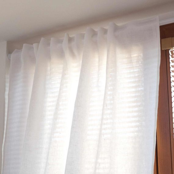 Linen Curtain Lesna White