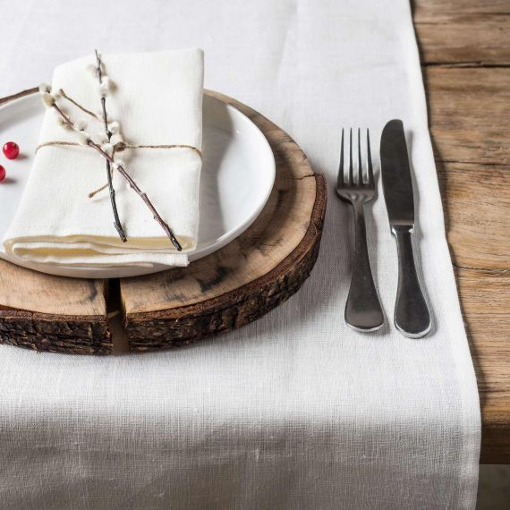 Linen Table Runner Lesna White