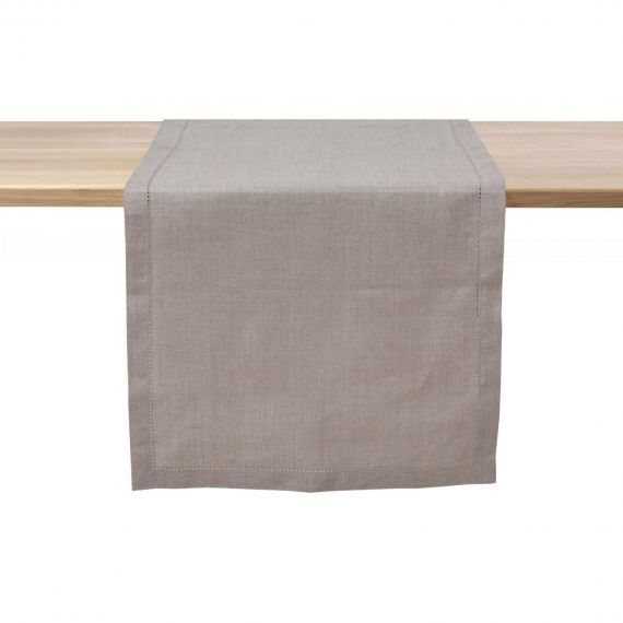 Linen Table Runner Hemstitch Nisa Natural
