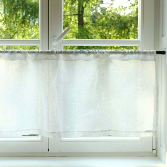 Leinen Scheibengardine transparent Prosna Weiß