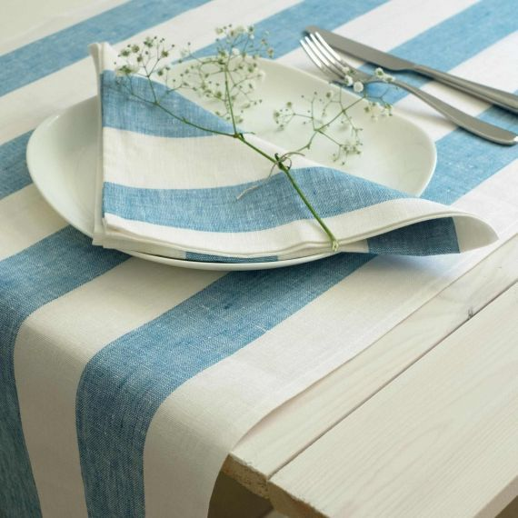Linen Table Runner Rissa Blue