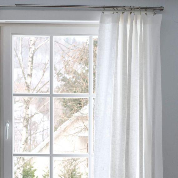 Leinen Vorhang mit Kräuselband Weiß Sola