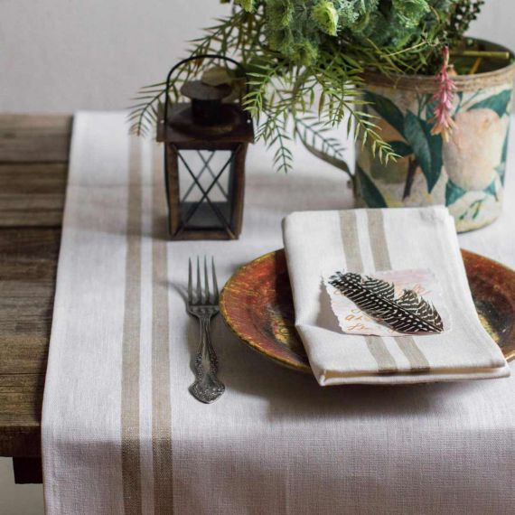 Linen Table Runner Tisa White