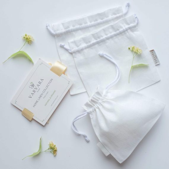 Set of 3 mini linen bags Welna Natural & White