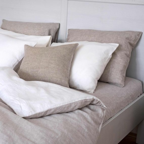 Linen Duvet Cover Welna White & Natural