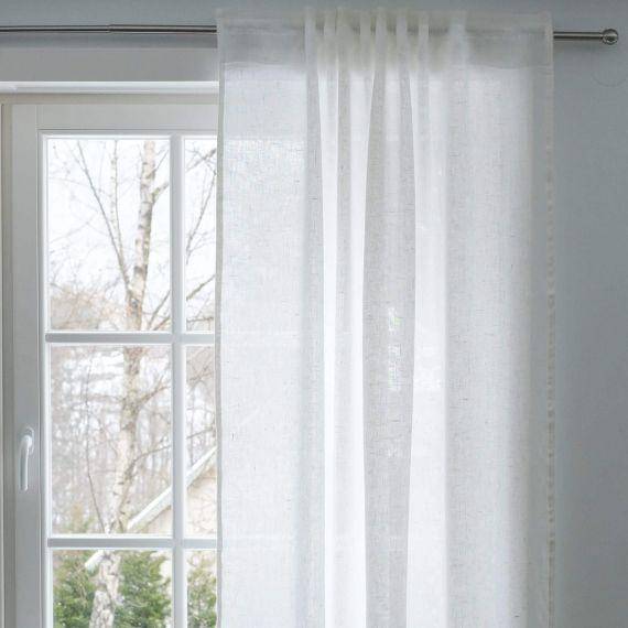 Leinen Vorhangschal Weiß Welna transparent