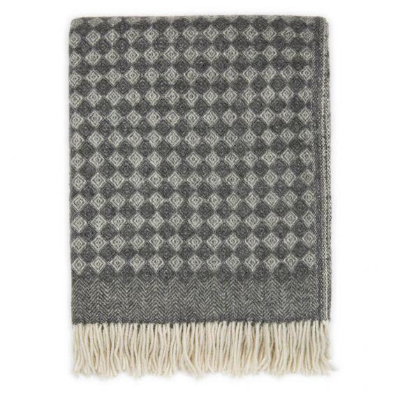 Decke aus Neuseelandwolle Schurwolle Saga Grau