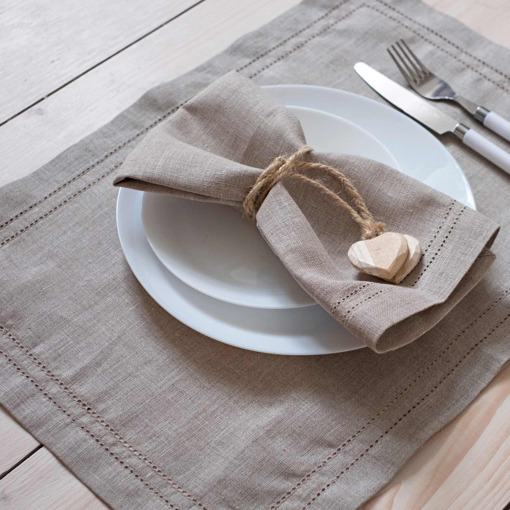 leinen tischsets hohlsaum elbla natural. Black Bedroom Furniture Sets. Home Design Ideas