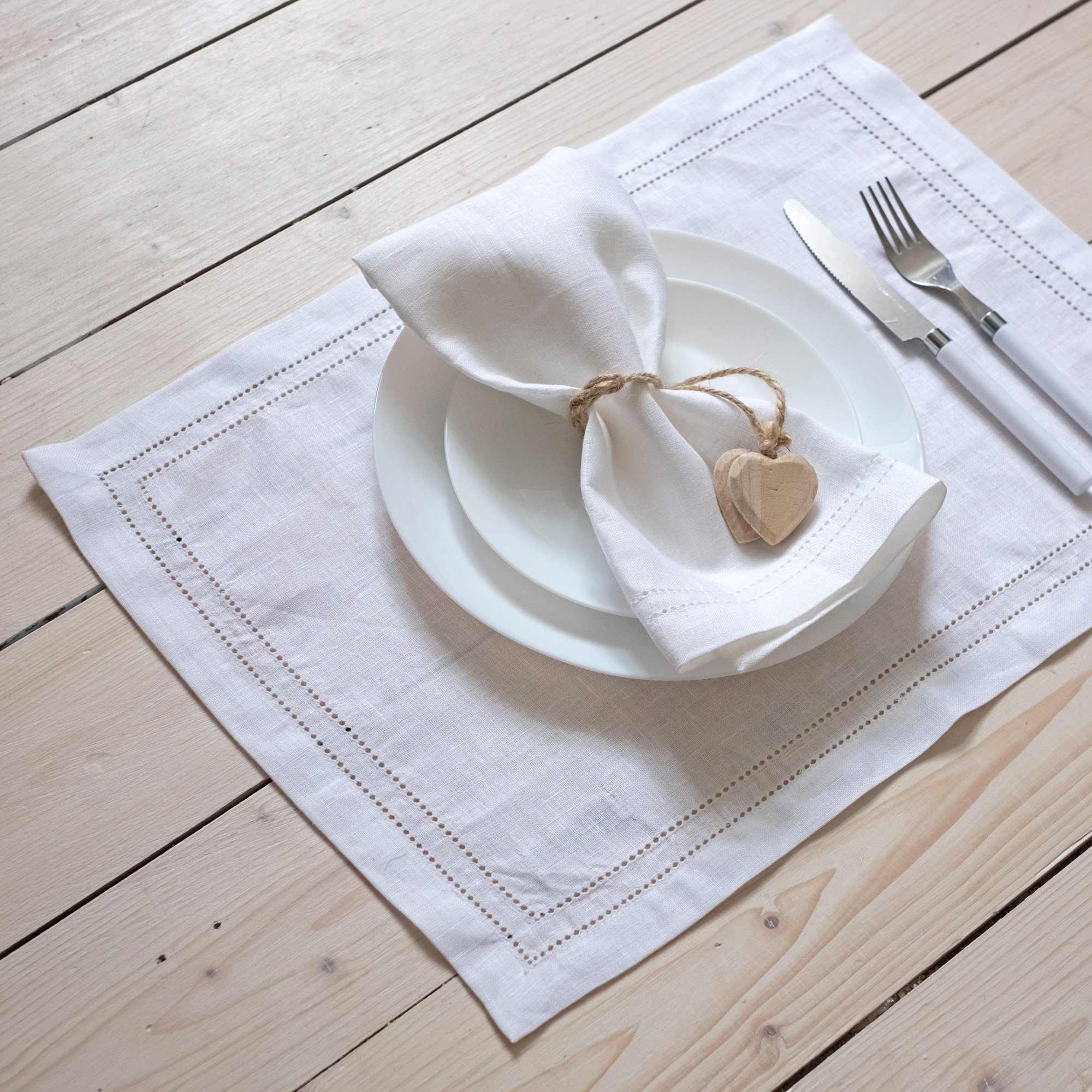 leinen tischsets hohlsaum elbla wei. Black Bedroom Furniture Sets. Home Design Ideas