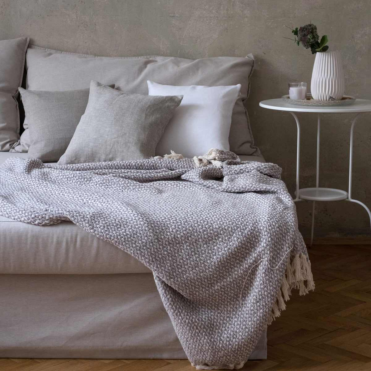 leinen kissenbezug lesna wei. Black Bedroom Furniture Sets. Home Design Ideas