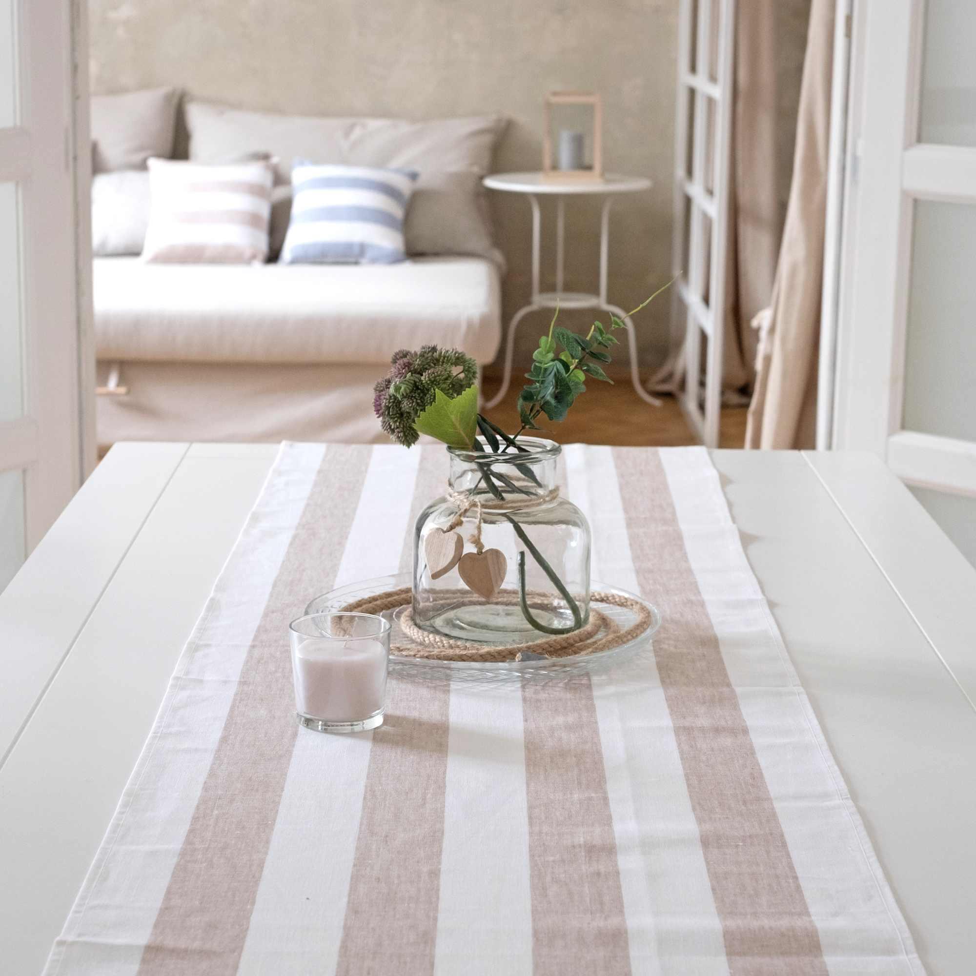 leinen tischl ufer rissa beige. Black Bedroom Furniture Sets. Home Design Ideas